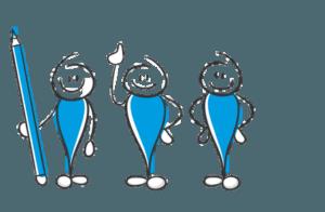 Darstellung von drei Männchen, die kurz vor ihrer Vibos-Anmeldung stehen