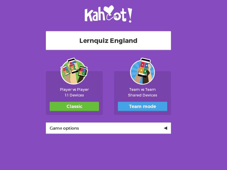 Auswahl Seite von Kahoot zum Einsatz im Unterricht