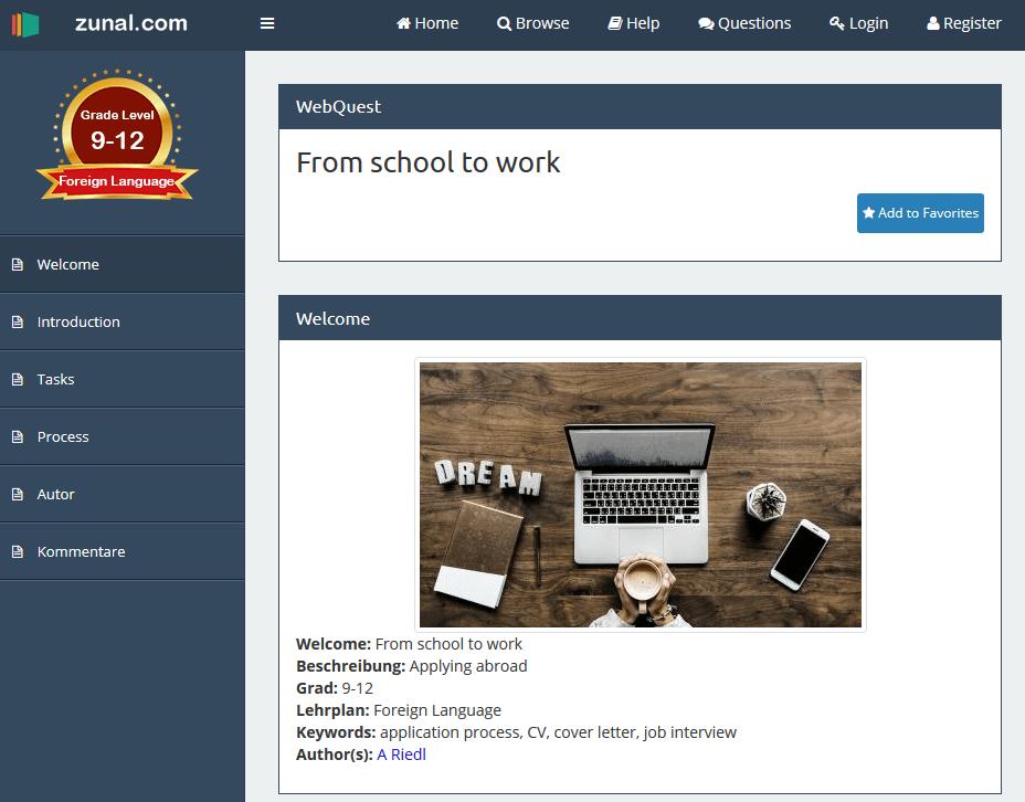 Zunal Webquest Aufgabenbeispiel Fachoberschule